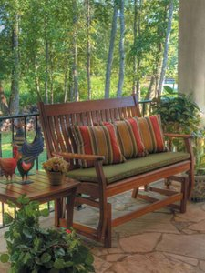 Wood Patio or Deck Glider with Cusions